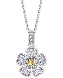 "Citrine (1/10 ct.t.w.) & Cubic Zirconia 18"" Flower Pendant Necklace in Sterling Silver"