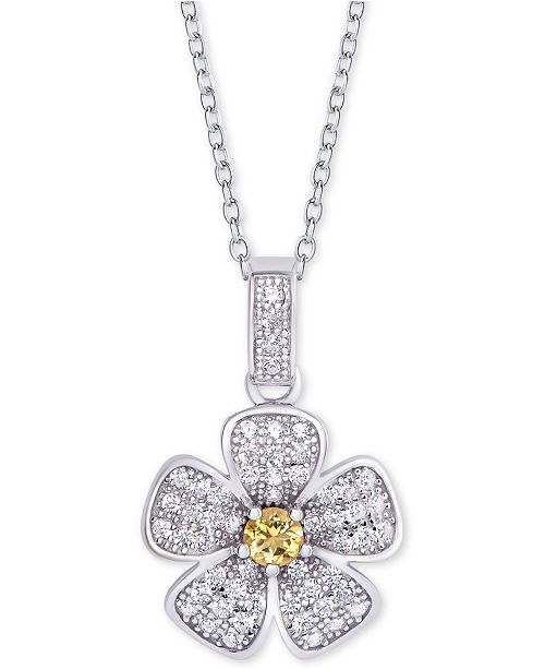 "Macy's Citrine (1/10 ct.t.w.) & Cubic Zirconia 18"" Flower Pendant Necklace in Sterling Silver"
