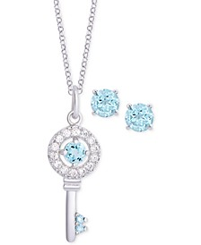 "2-Pc. Set Blue Topaz (9/10 ct. t.w.) & Cubic Zirconia Key 18"" Pendant Necklace & Stud Earrings in Sterling Silver"