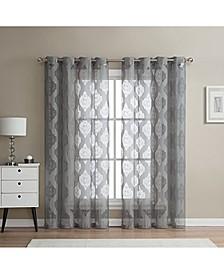 Lumino Sydney Damask Semi Sheer Grommet Curtain Panels - Set of 2