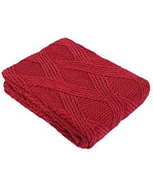 Diamond Cable Knit Chenille Throw