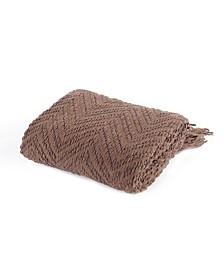 Knit Zig Zag Textured Woven Micro Chenille Throw