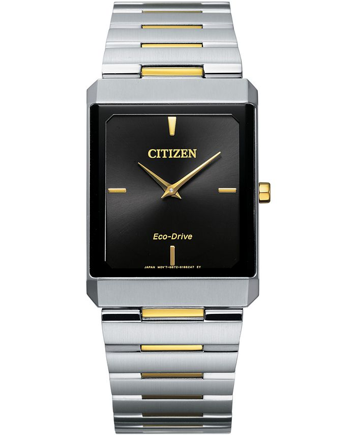 Citizen - Unisex Eco-Drive Stiletto Two-Tone Stainless Steel Bracelet Watch 28x38mm