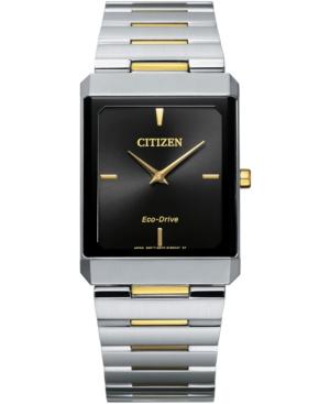 Unisex Eco-Drive Stiletto Two-Tone Stainless Steel Bracelet Watch 28x38mm