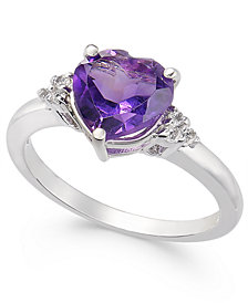 Amethyst (1-3/4 ct. t.w.) & Diamond (1/20 ct. t.w.) Heart Ring in 14k White Gold