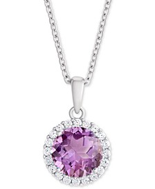 "Amethyst (1-3/4 ct. t.w.) & Cubic Zirconia Halo 18"" Pendant Necklace in Sterling Silver"