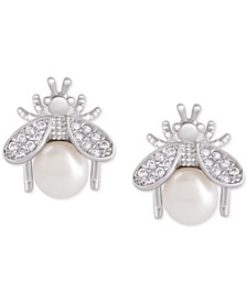 Mother-of-Pearl & Cubic Zirconia Bee Stud Earrings in Sterling Silver