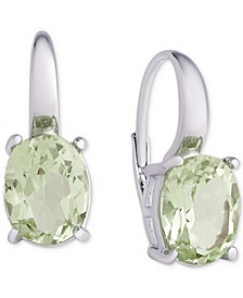 Green Amethyst Oval Leverback Earrings (4-3/4 ct. t.w.) in Sterling Silver