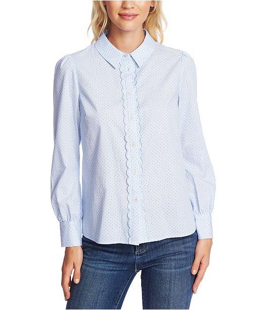 CeCe Dotted Scallop-Detail Cotton Shirt
