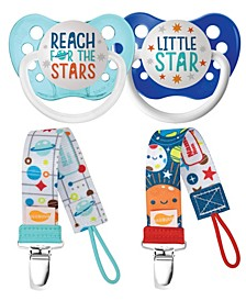 Ulubulu Space Collection Reach for The Stars and Pacifiers with Mid Century Star and Solar System Pacifier Clip Bundle