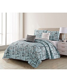 Travel To Paris 5 Piece Quilt Set Full/Queen