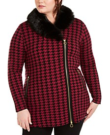 Plus Size Faux-Fur-Collar Patterned Cardigan
