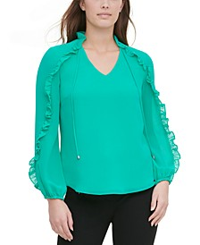 Tie-Neck Ruffled-Sleeve Blouse