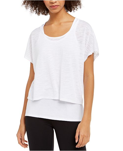Ideology Printed Burnout Layered T-Shirt, Created For Macy's