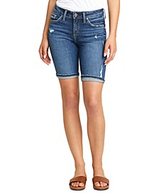 Suki Distressed Denim Bermuda Shorts
