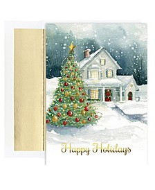 Winter Cottage Holiday Boxed Cards, 18 Cards and 18 Foil Lined Envelopes