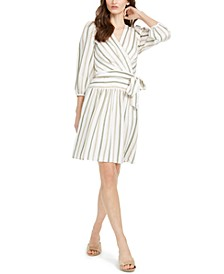 Striped Faux-Wrap Dress