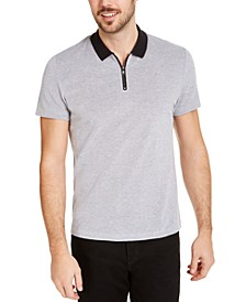 Men's Micro Jacquard Zipper Polo Shirt, Created for Macy's