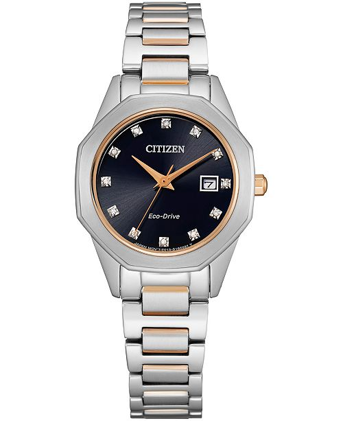 Citizen Eco-Drive Women's Corso Diamond-Accent Two-Tone Stainless Steel Bracelet Watch 28mm