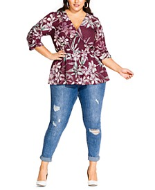 Trendy Plus Size Winter Lily-Print Shirred Top