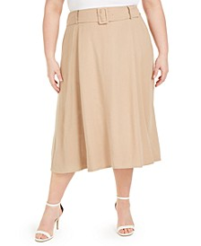 Plus Size Belted Midi Skirt, Created for Macy's