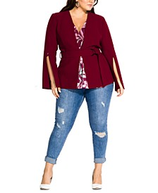 Trendy Plus Size Split-Sleeve Jacket