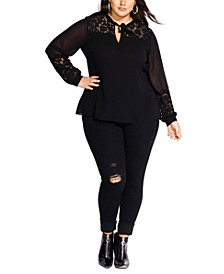 Trendy Plus Size Mysterious Lace-Trim Top