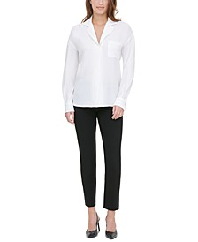 Notch-Lapel Blouse