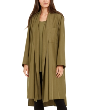 Eileen Fisher Oversized Open-front Jacket In Olive