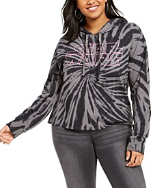 Trendy Plus Size Star Wars Graphic Tie-Dyed Cropped Hoodie