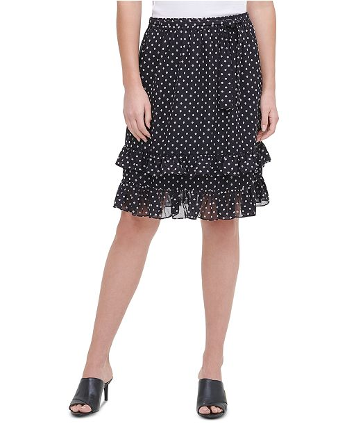 Calvin Klein Printed Ruffled Skirt
