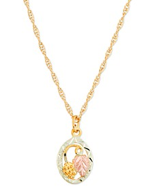 "10K Yellow Gold Pendant 18"" Necklace with 12K Rose and Green Gold"