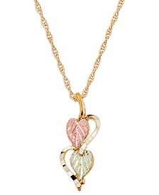 Hearts and Leaves Pendant in 10k Yellow Gold with 12k Rose and Green Gold