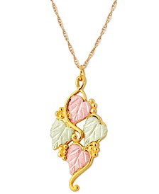 Grape and Leaf Pendant in 10k Yellow Gold with 12k Rose and Green Gold