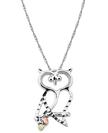 Owl Pendant in Sterling Silver with 12K Rose and Green Gold