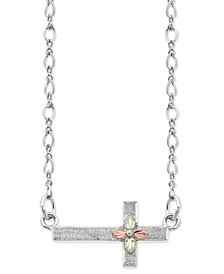 "Sideways Cross Pendant 18"" Necklace in Sterling Silver with 12K Rose and Green Gold"
