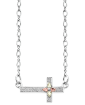 """Sideways Cross Pendant 18"""" Necklace in Sterling Silver with 12K Rose and Green Gold"""