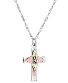 "Cross Pendant 18"" Necklace in Sterling Silver with 12K Rose and Green Gold"