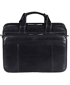 Signature Collection Large Top Zippered Double Compartment Laptop and Tablet Briefcase