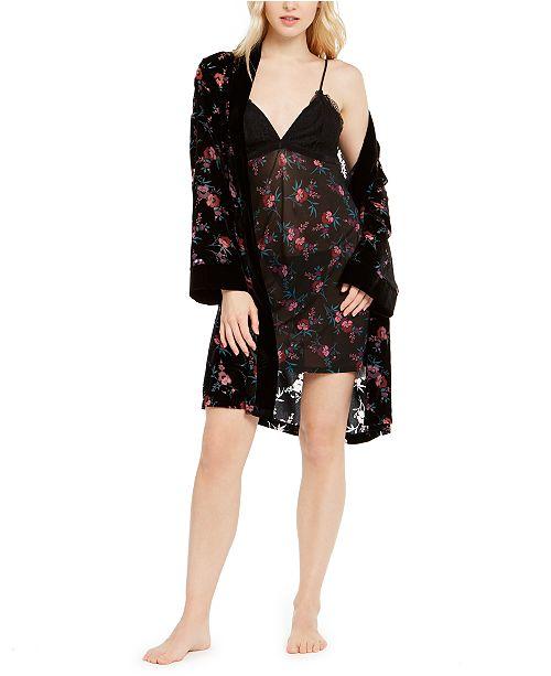 INC International Concepts INC Floral-Print Burnout Velvet Robe & Velvet Trim Chemise Nightgown, Created For Macy's