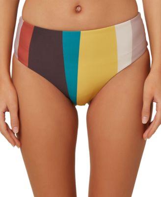 Juniors' Sapa Striped High-Waist Bikini Bottoms