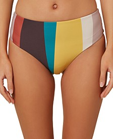 Juniors' Sapa Striped High-Waist Bikini Bottoms