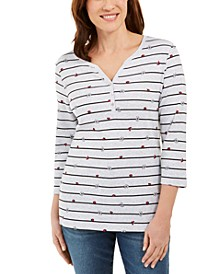 Petite Mixed-Print 3/4-Sleeve Top, Created for Macy's