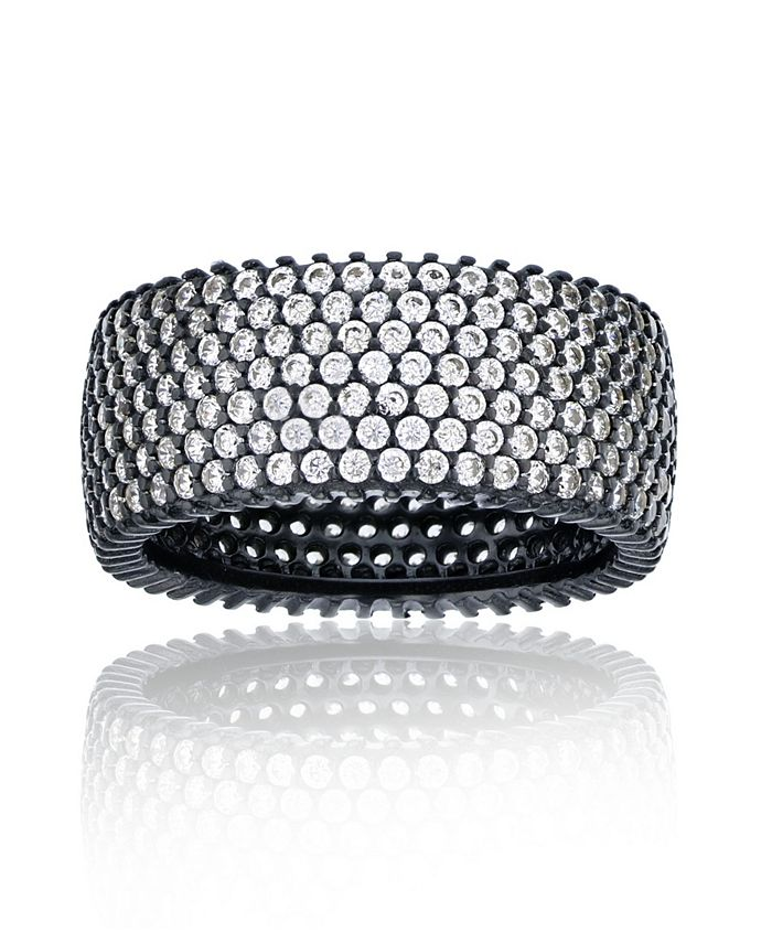 Macy's - Cubic Zirconia Micropaved Multi Row Eternity Band in Black Rhodium Plated Sterling Silver