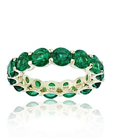 Green Cubic Zirconias Eternity Band in Rhodium Plated Sterling Silver