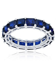 Created Blue Spinel Eternity Band in Rhodium Plated Sterling Silver