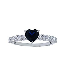 Created Blue Spinel and White Cubic Zirconia Heart Ring in Rhodium Plated Sterling Silver