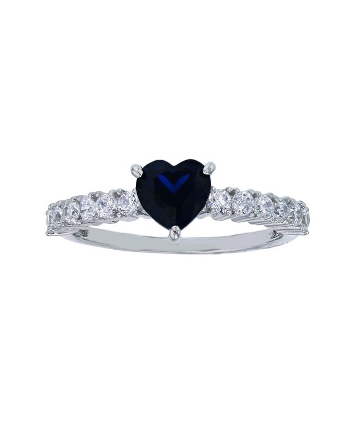 Macy's - Created Blue Spinel and White Cubic Zirconia Fashion Ring in Rhodium Plated Sterling Silver