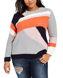 Trendy Plus Size Cotton Colorblocked Sweater