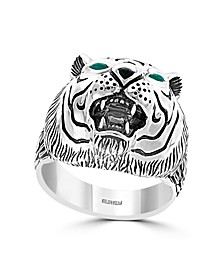 EFFY® Men's Green Agate and Onyx Tiger Ring in Sterling Silver